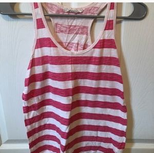 Small Forever 21 Racer Back Tank Top Pink & White